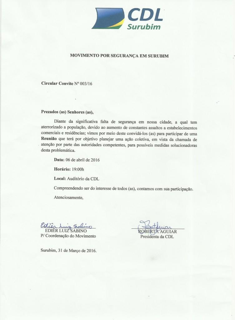 OFICIO CIRCULAR - SEGURANCA SURUBIM - CDL