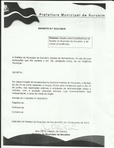 DECRETO 023 2019 SURUBIM - FERIADO MUNICIPAL