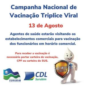 Campanha Nacional de Vacinação de Triplice Viral - Ação acontece no centro comercial de Surubim na próxima quinta-feira (13)